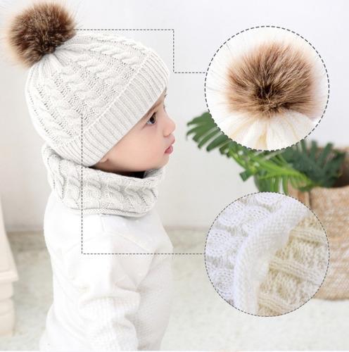 gorro bufanda bebe niño niña unisex alta calidad 3 colores