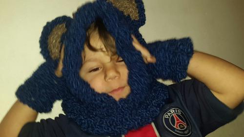 gorro capucha en crochet