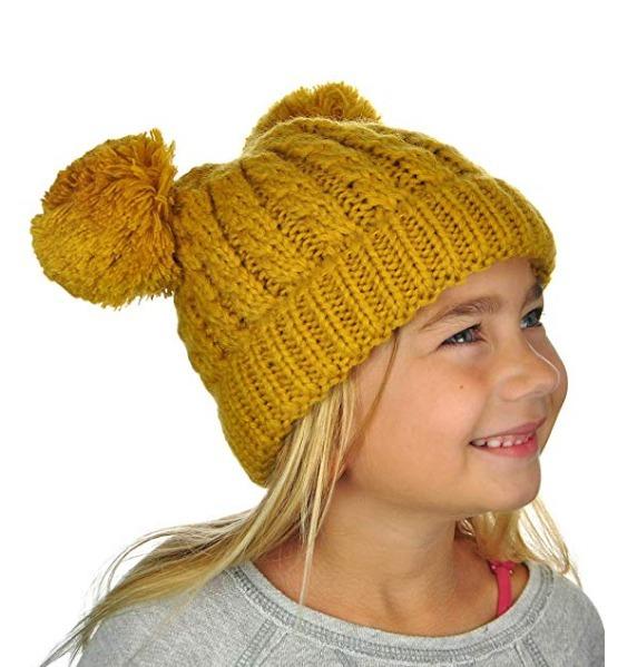 Gorro De Invierno Para Niñas Y Niños Con Pompones Mustard K9 ... 919c2806166