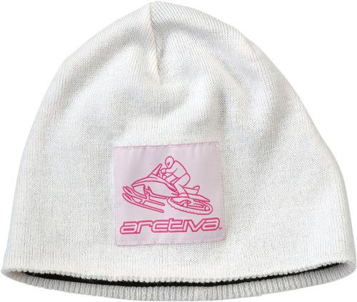 gorro de lana arctiva s6 mujer blanco/rosa