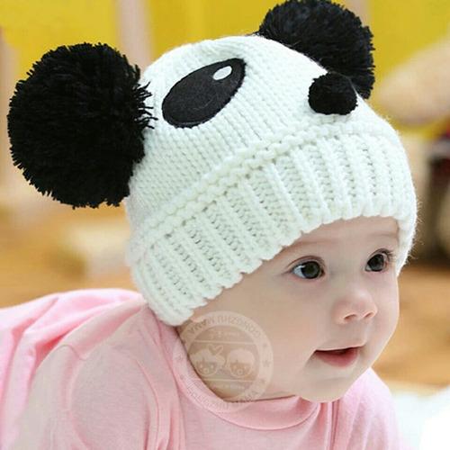 gorro de lana para invierno para bebés oso panda
