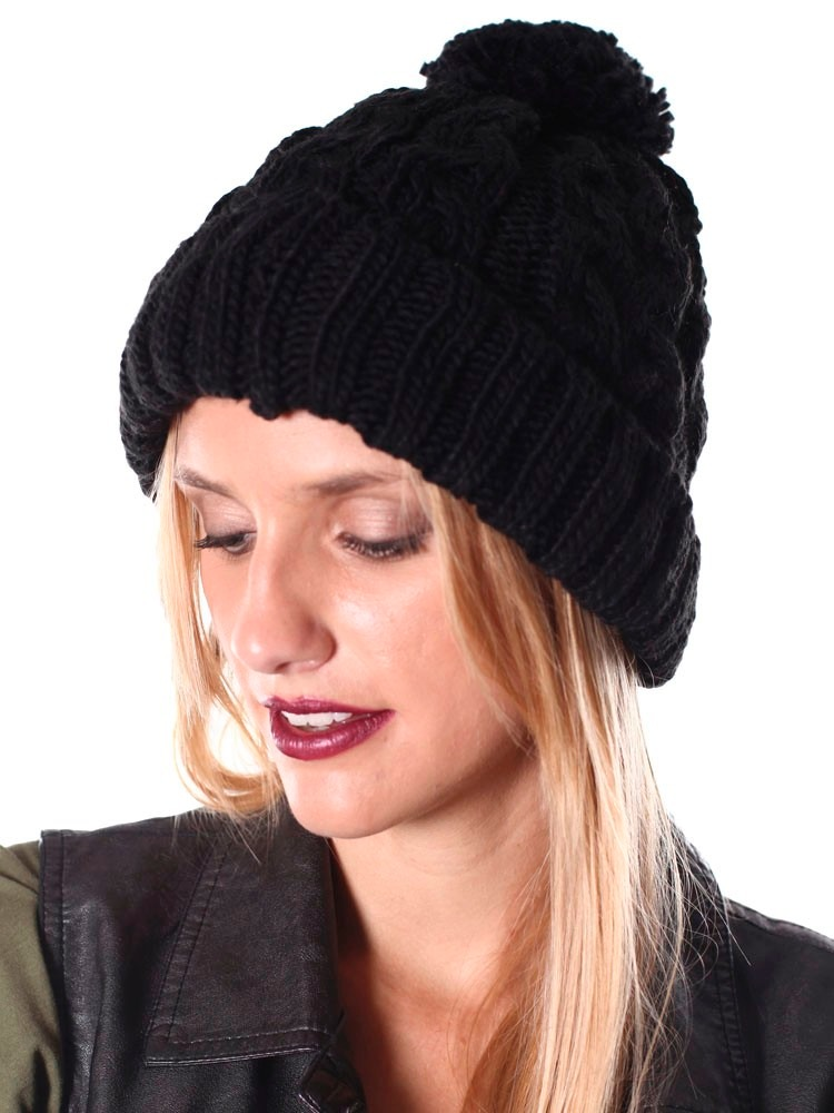 gorro frost de lana tejido con pompn negro mujer