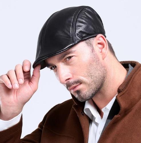 gorro gorra plana hombre boina plana cuero negro sombrero