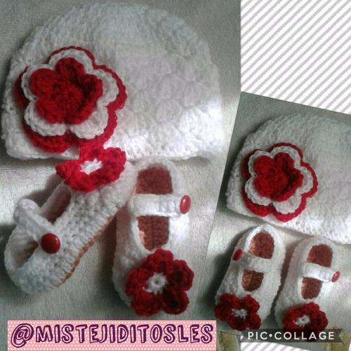 gorro gorra tejido crochet bebe niña dama zapatilla manopla