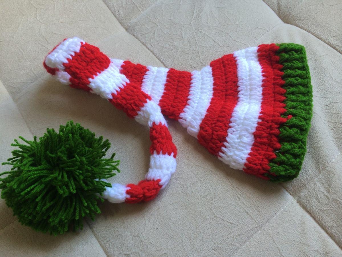 gorro infantil bebe newborn listras verde vermelho branco. Carregando zoom. 5cb76555b89