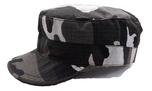 gorro kepi visera casquete camuflado urbano negro