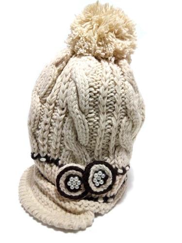 gorro lana tejido con detalle perlas pompon x mayor x unid