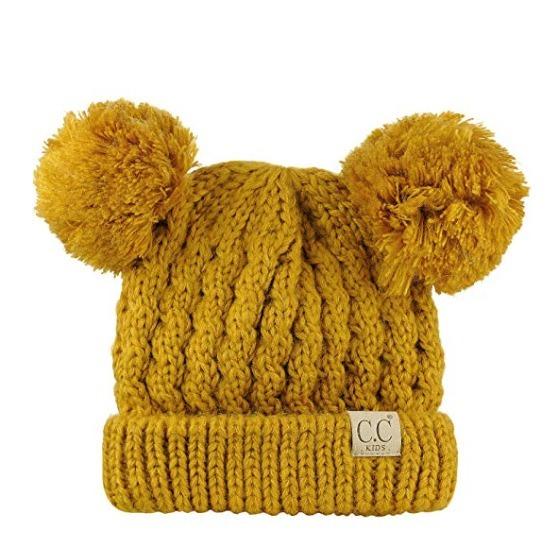 gorro de invierno para niñas y niños con pompones mustard k9 · gorro niños  con faae2037f8b