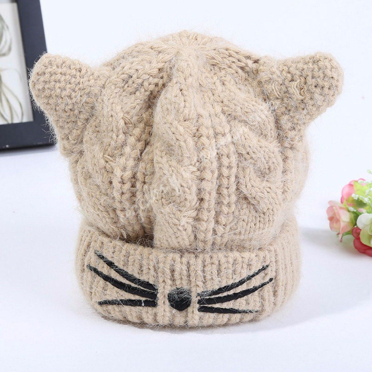 Gorro Orejas De Gato Tejido Cute-kawaii Mujer Niñas - $ 350.00 en ...