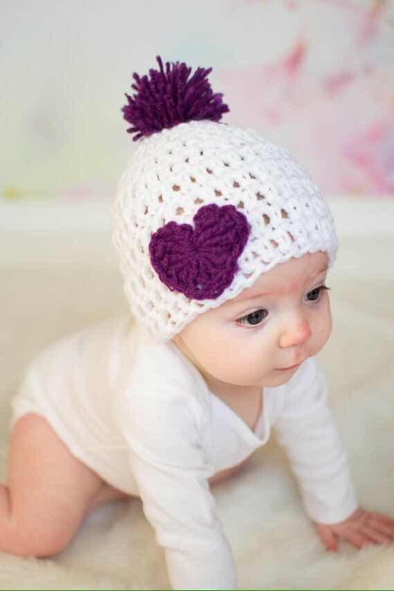 b150ed42bc6f3 Gorro Para Bebé Con Corazón. Tejido Crochet -   180.00 en Mercado Libre