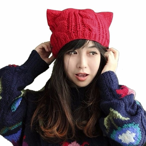 Gorro Tejido Punto Orejas De Gato Moda Asiática Envío Gratis