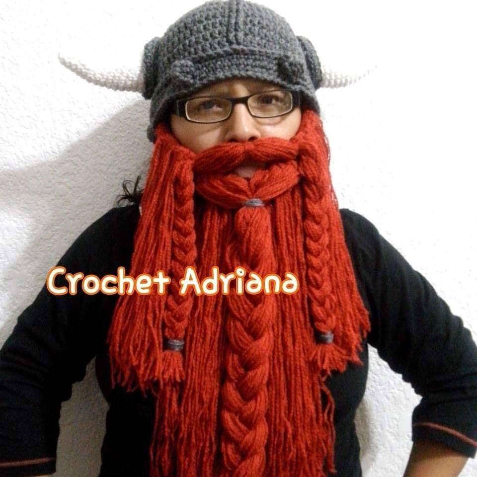 Gorro Vikingo Gris Barba Terracota Desmontable Crochet -   750.00 en ... 871a6b0f281