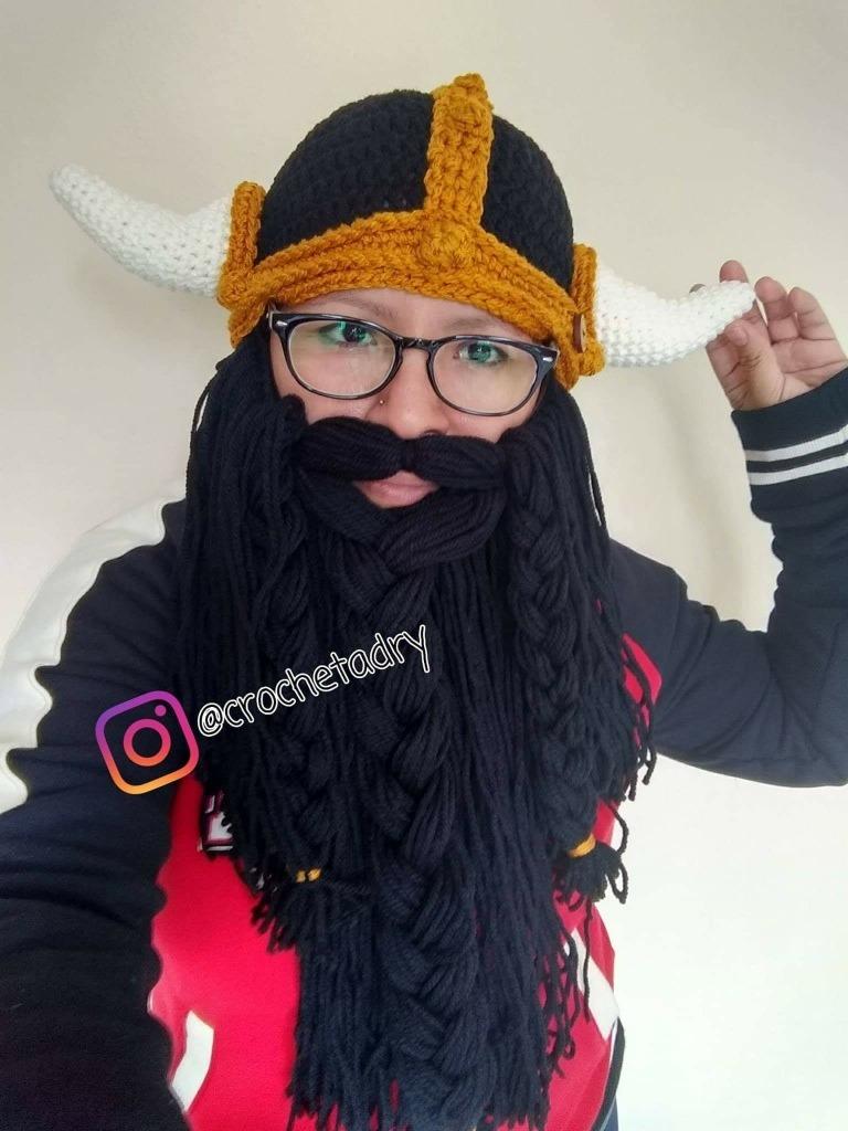 Gorro Vikingo Negro Barba Negra Desmontable Crochet -   750.00 en ... dee02fe47d6