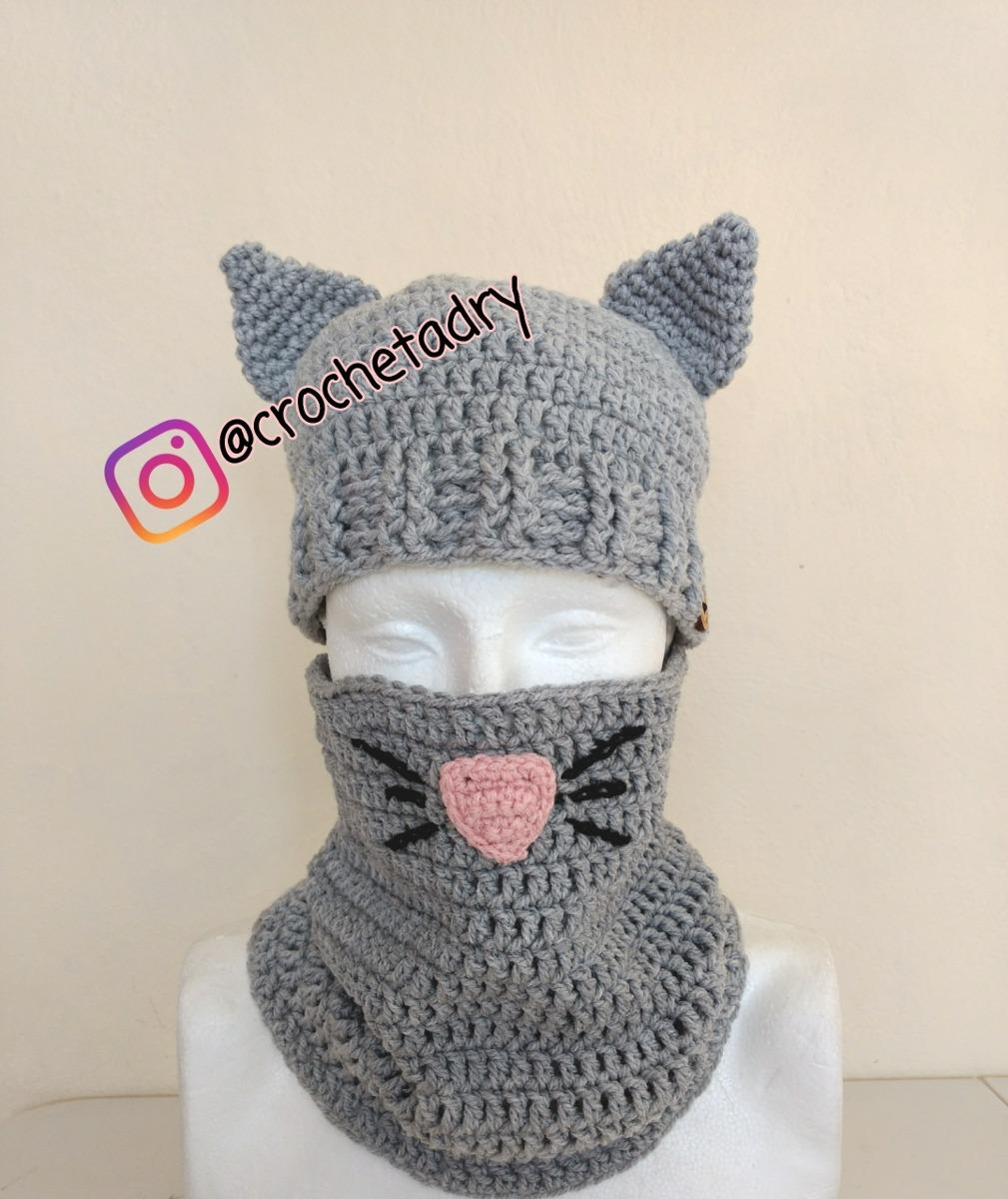 Gorro Y Bufanda Tubo Gato Crochet Tejidos - $ 750.00 en Mercado Libre