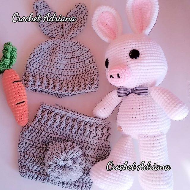 Gorro Y Calzoncito Pañalero Conejo Crochet Tejido - $ 650.00 en ...