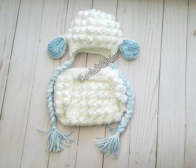 Gorro Y Diaper Oveja Crochet Bebés - $ 750.00 en Mercado Libre