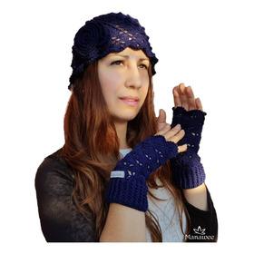 Gorro Y Miton Manawee Mujer Conjunto Tejido Crochet