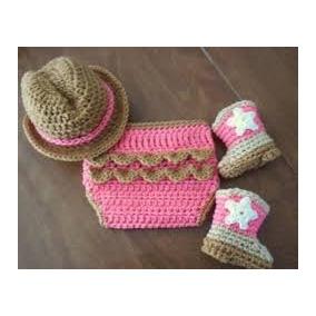 fe5abbe36625b Sombrero Botas Y Pañalero Vaquero Para Niña Tejido A Crochet