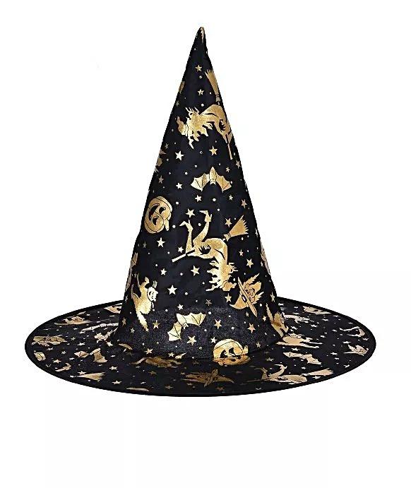 Gorros Bruja Negro Y Dorado Halloween Cumpleaños Cotillón -   67 bcbaf6eaaf5