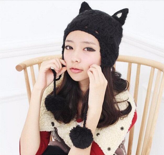 gorros con orejitas de gato tejidos con lana sedifada