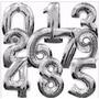 Globos Metalizados De Números Dorados Plateados 75 Cm Grande
