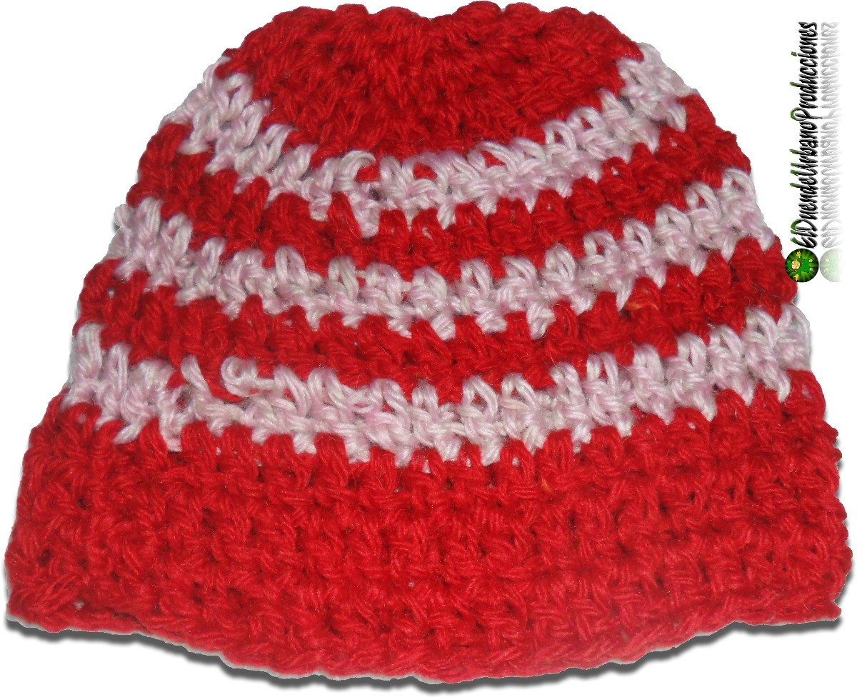13aed49a4 gorros infantiles tejidos crochet unisex mod. rojo + rayas. Cargando zoom.