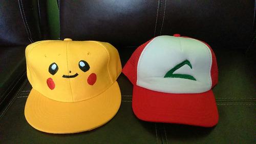 gorros jockey bordados ash,pikachu,equipos pokemon etc