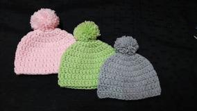 ff67590cf Pompon Lisos Jaspeados Abrigados Gorro Tejido Al Crochet C - Ropa y ...