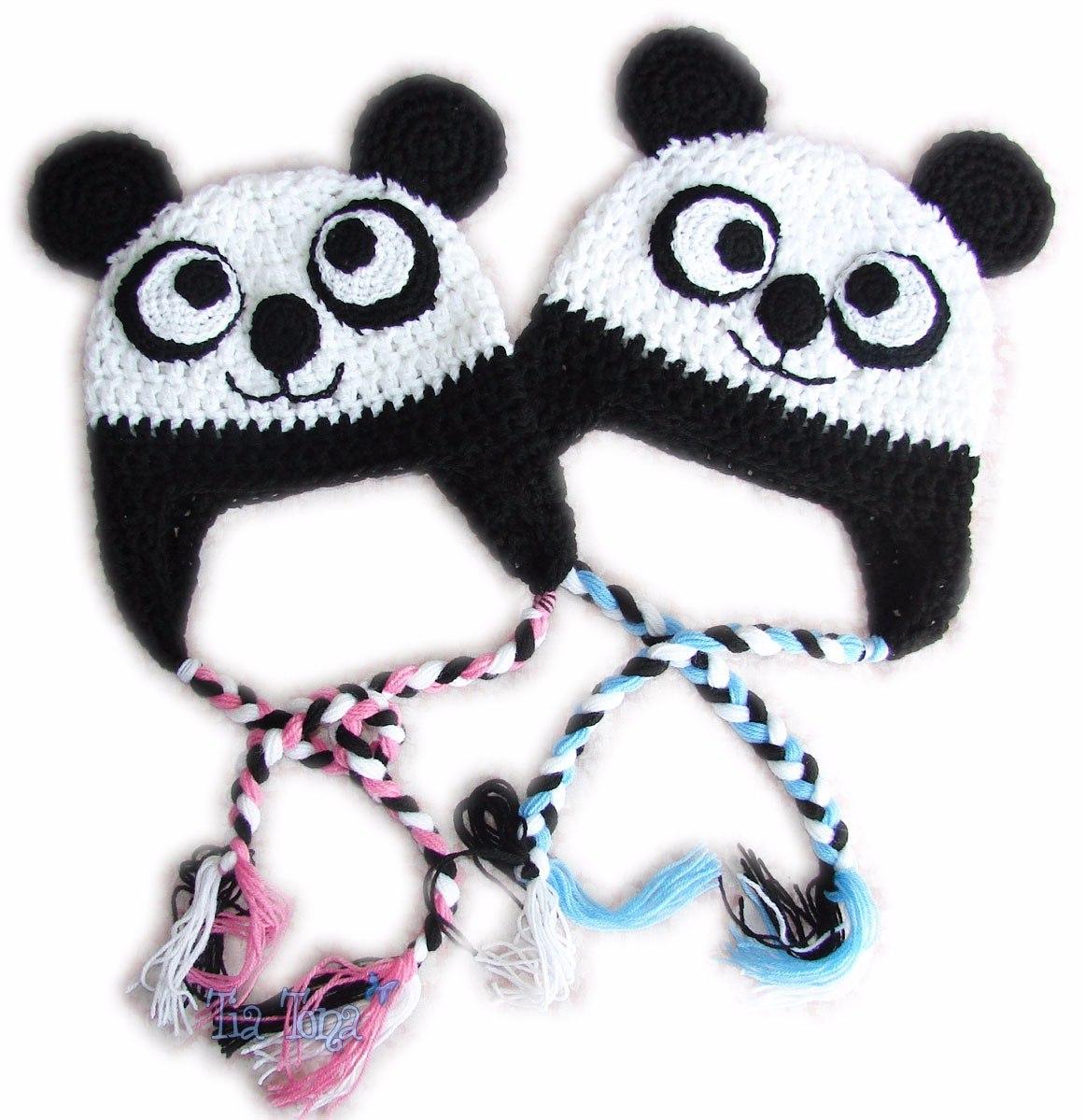 Gorros Tejidos Oso Panda Orejeras Trenzas Crochet Lana -   285 a4764174506