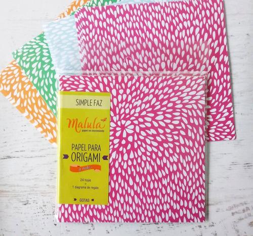 gotas color papel origami  malula 15 x 15 cm y 4 colores