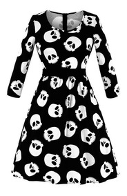 Gotico Rock Vestido Skull Emo Calavera Dark