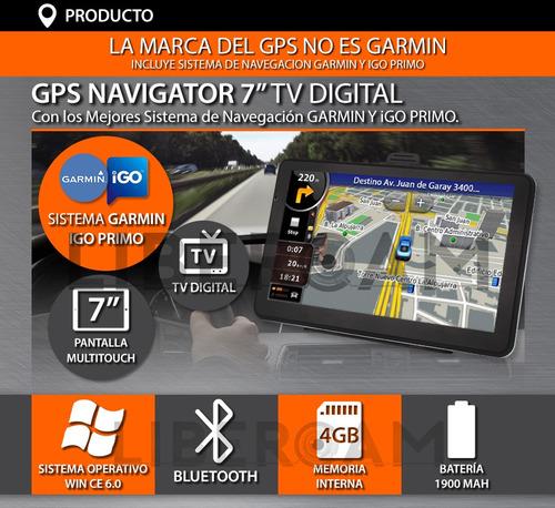 gps 7 pulgadas  garmin e igo tv digital igo 8 gb