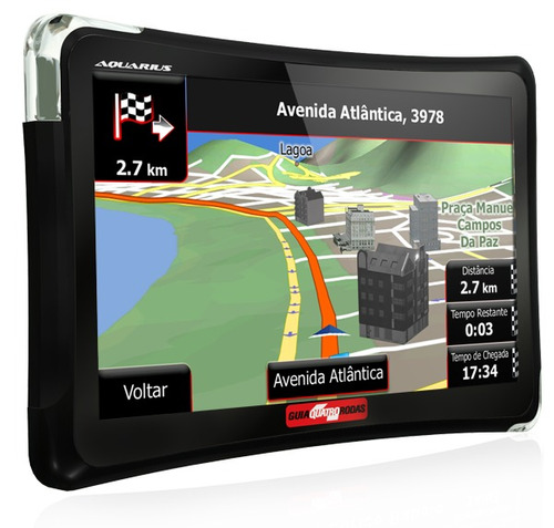 gps aquarius guia quatro rodas 4.3 tv digital sd automotivo