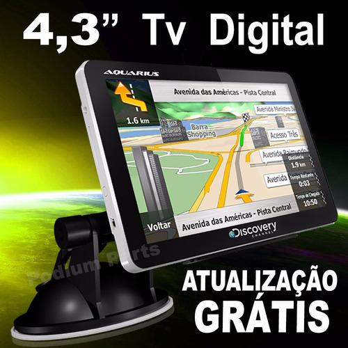 gps automotivo 4.3 com tv digital discovery alerta radar 3d