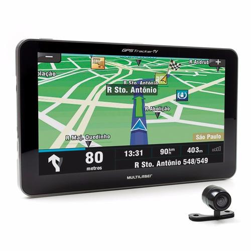 gps multilaser gp039 tracker 3 tela 7, tv digital + câm ré