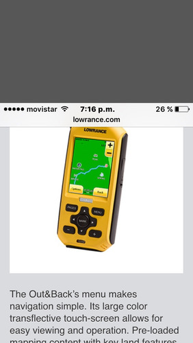 gps navigation marca lowrance  tipo map out&back portable
