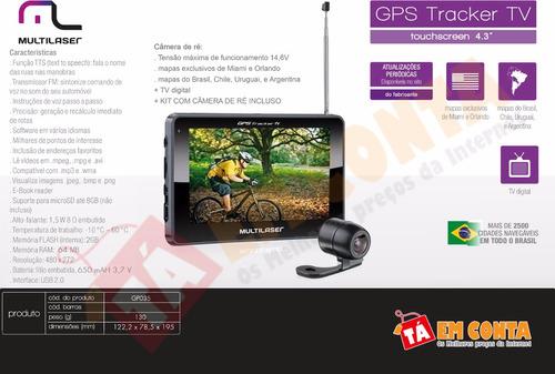 gps tela 4.3 fm e tv mp3 câmera de ré avisa radar multilaser