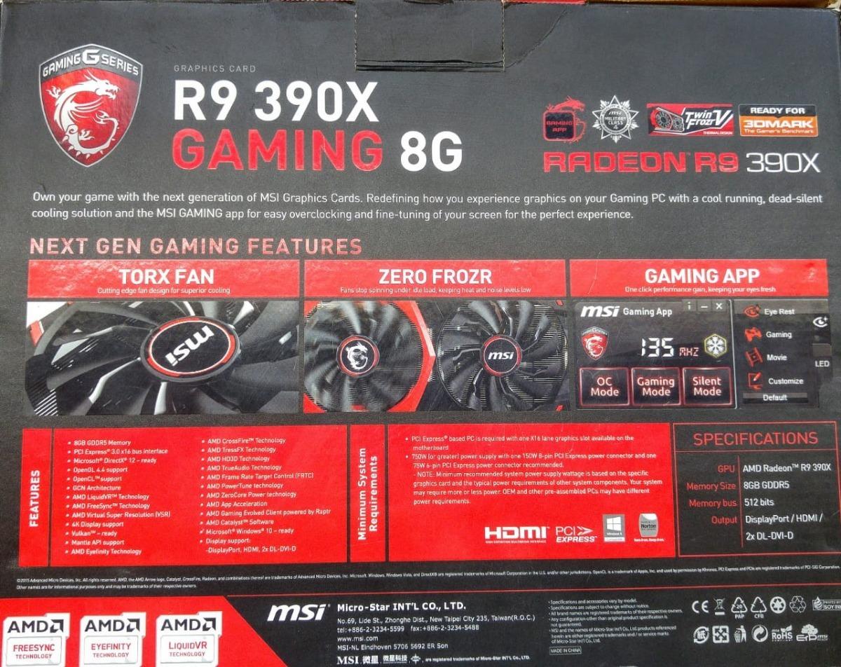 Gpu 8gb R9 390 Radeon Msi Semi-nova