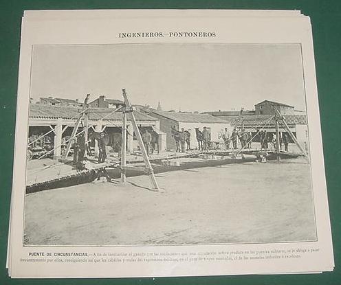 grabado autotipia militar ejercito españa pontoneros puente1
