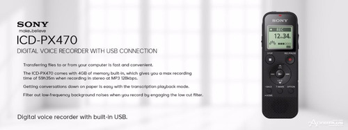 grabador digital de voz usb 4gb lpcm mp3 icd-px470 stereo