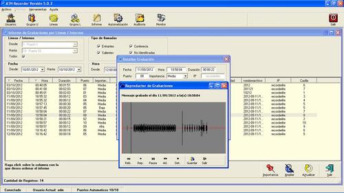 grabador llamadas ivr lineas internos pbx atn recorder