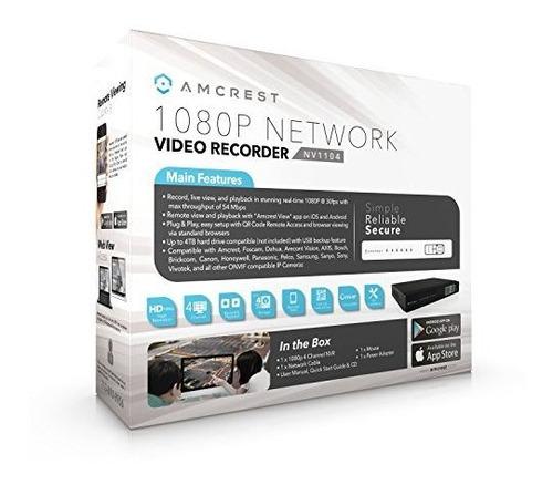 grabadora de video en red amcrest nv1104 1080p nvr  admite h