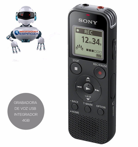 grabadora de voz digital estéreo sony 4 gb interna usb px470