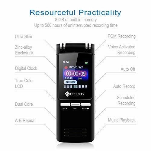 grabadora de voz digital etekcity 8gb 560horas y reproductor