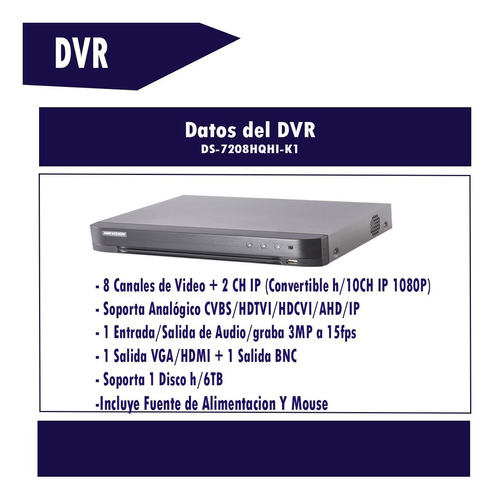 grabadora dvr 8 canales hikvision 3mp turbo hd audio 7208hqhi