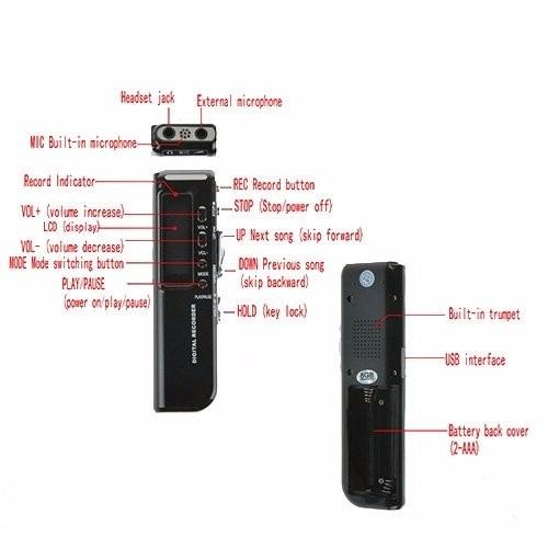 grabadora flashmen® 8 gb usb audio digital spy grabadora de