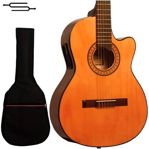 gracia m6 eq guitarra clasica electrocriolla corte + funda