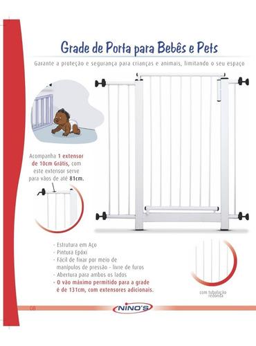 grade para porta  - extensor de 10 cm grátis - 67 até 81 cm