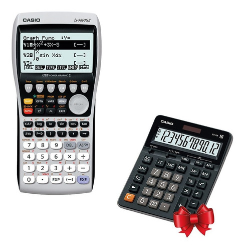 graficadora casio fx-9860gii + calculadora de regalo