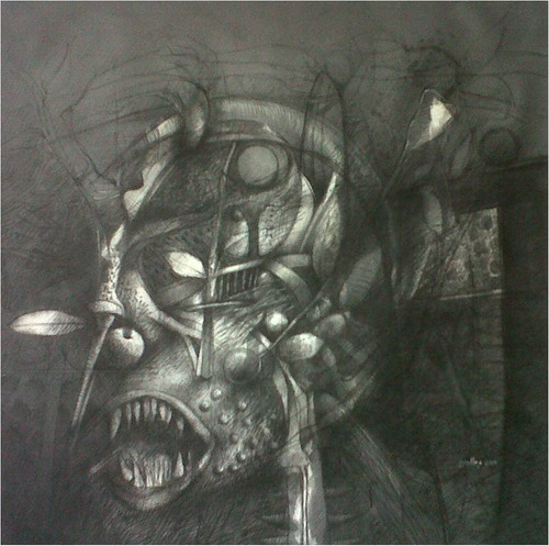 grafito sobre tela del artista j. ovalles-obras de arte